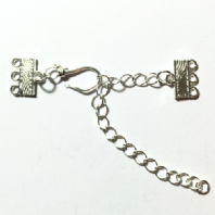 5 Silver Plated 3 Strands Hook & Eye Clasps